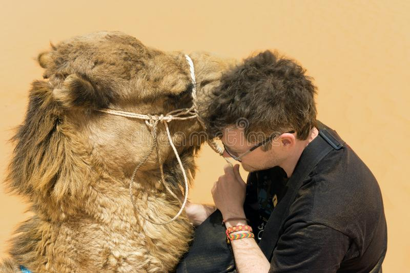 Tourist mit Kamel in Sahara Desert, Tunesien stockfotos