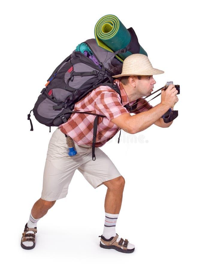 Tourist mit Kamera lizenzfreies stockfoto