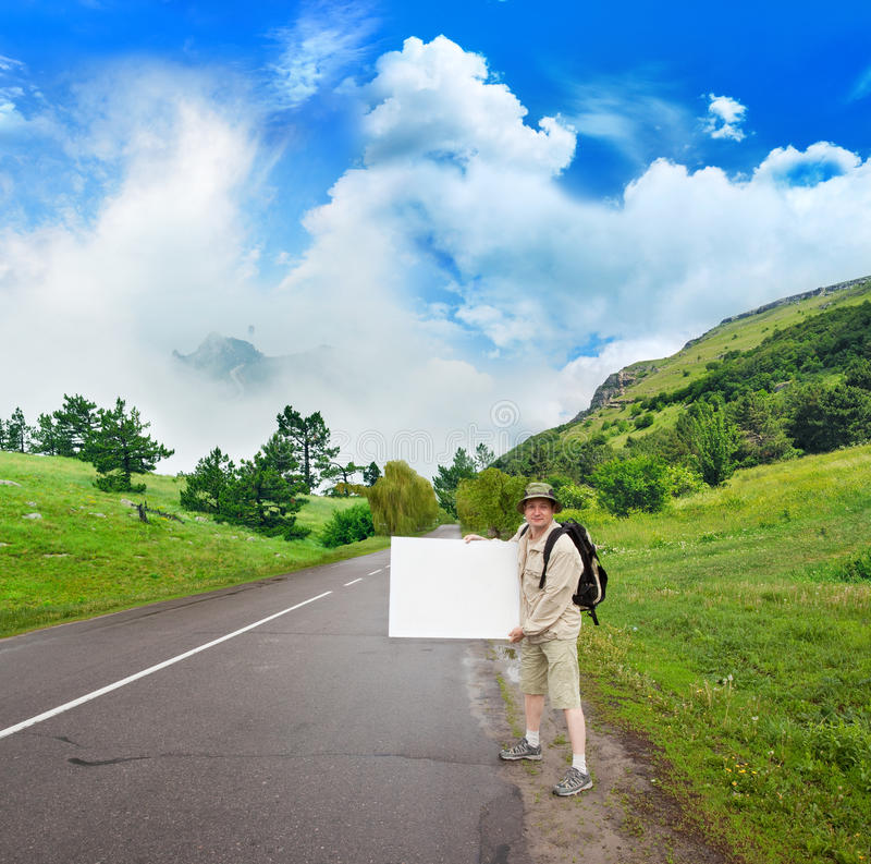 Download Tourist On The Mountain Path Stock Image - Image: 16283623
