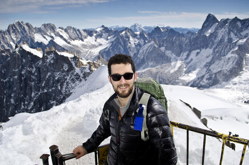 Tourist in the mountains stock images