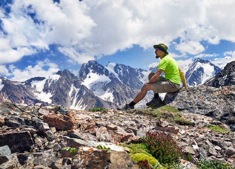 Tourist in the mountains stock photo