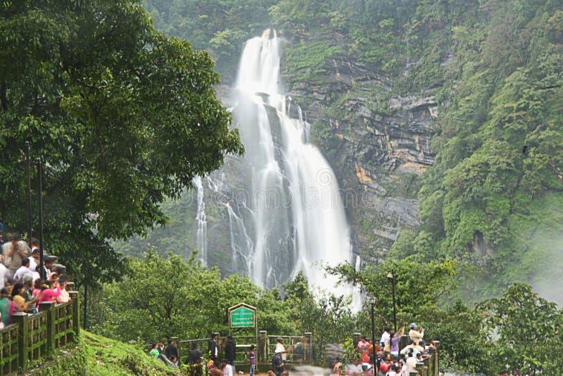 Tourist Near Jog Falls. Tourists enjoying beauty of Jog Waterfall, shimoga, India stock photo