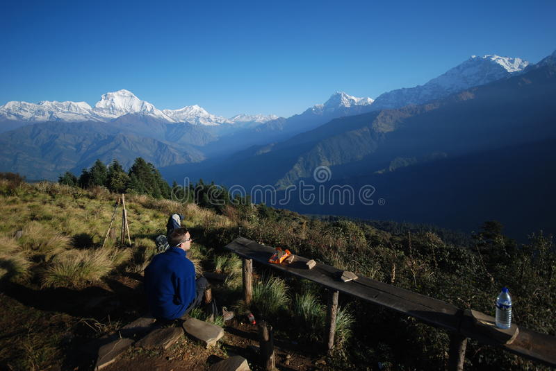 Tourist in Nepal enjoying the views