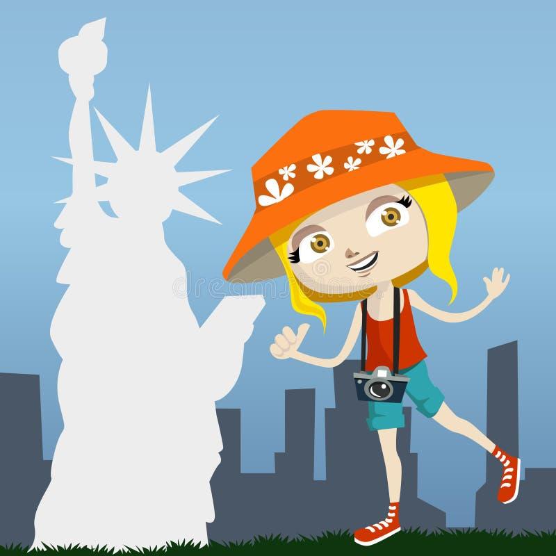 Tourist with newyork stock illustration