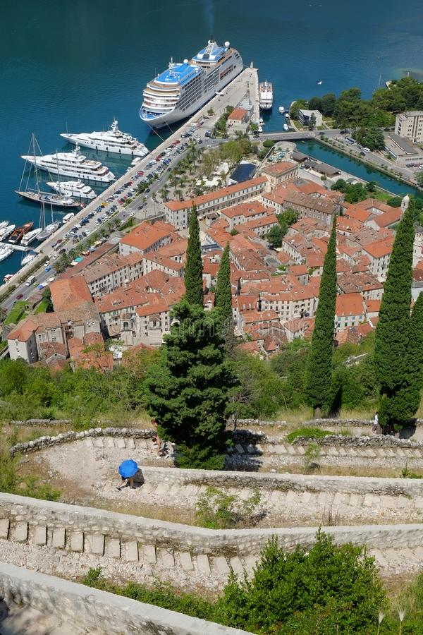 Up the stairs to fortification of old Kotor, Montenegro stock image