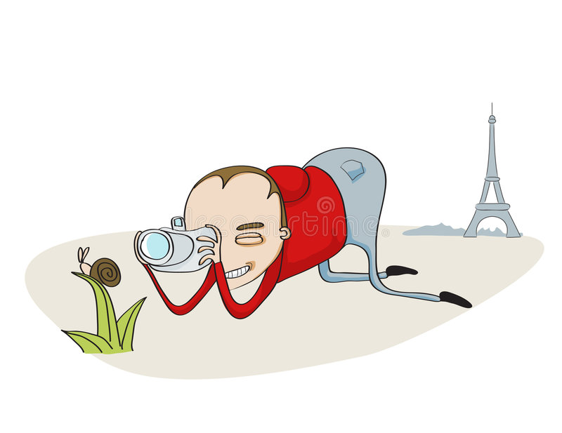 Tourist in Paris royalty free illustration