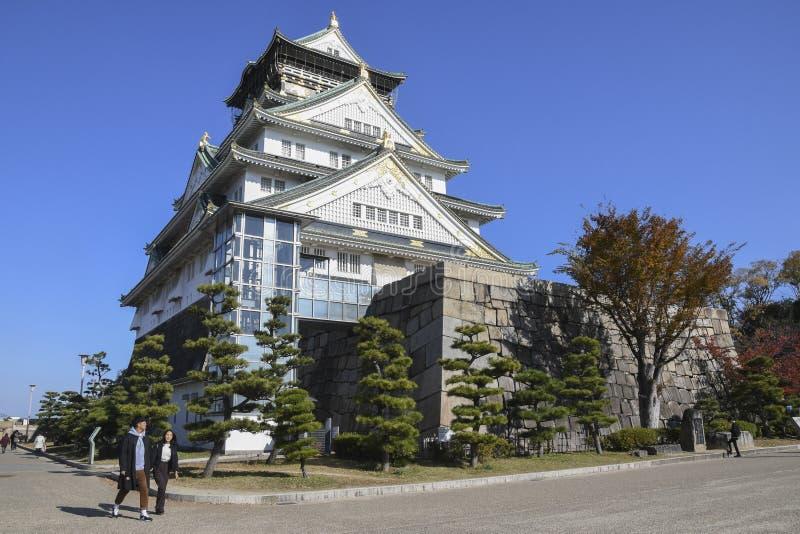 Tourist and people visit the Osaka castle in Osaka, Japan stock image