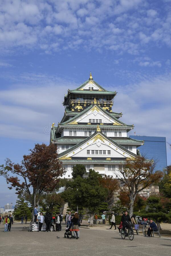 Tourist and people visit the Osaka castle in Osaka, Japan stock images