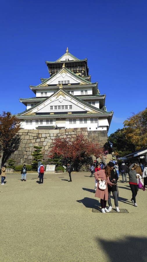 Tourist and people visit the Osaka castle in Osaka, Japan stock photo
