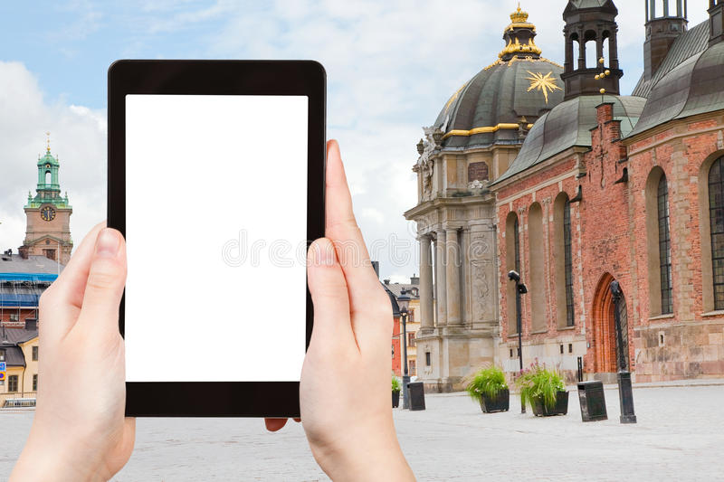 Tourist photographs of square (Birger Jarls Torg) royalty free stock image