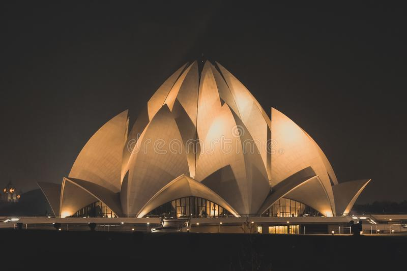 Tourist place The Lotus Temple on October 31st, 2014, New Delhi, India, Southeast Asia. temple of all religions. royalty free stock images