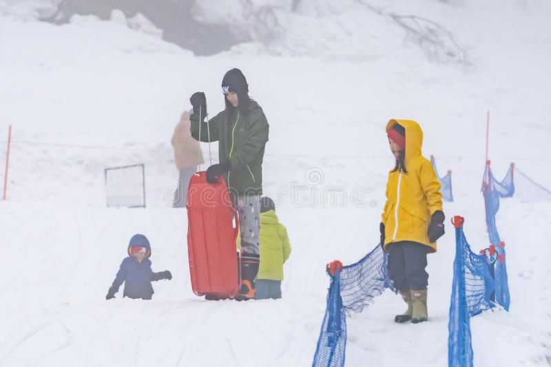 Tourist are playing with snow in Gala Yuzawa Ski resort stock images