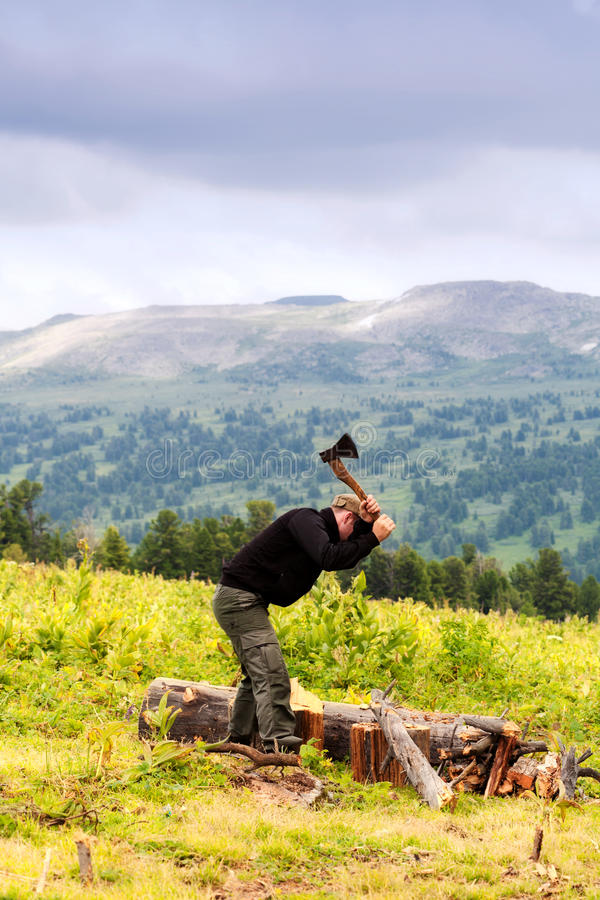 Download Tourist prepares fire wood stock image. Image of altai - 26395635