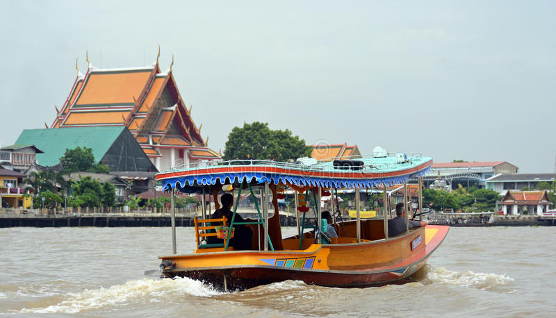 Tourist Private Sightseeing Boat on Chao Phraya River in Bangkok royalty free stock photos
