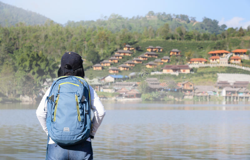 Tourist at Rak Thai village, Mae Hong Son Thailand. Tourist at Rak Thai village, Chinese Kuomintang refugees settlement in 1949 ,Mae Hong Son province, Northern royalty free stock photography