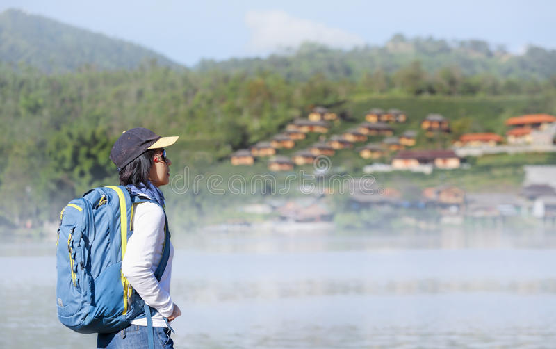 Tourist at Rak Thai village, Mae Hong Son Thailand. Tourist at Rak Thai village, Chinese Kuomintang refugees settlement in 1949 ,Mae Hong Son province, Northern royalty free stock images