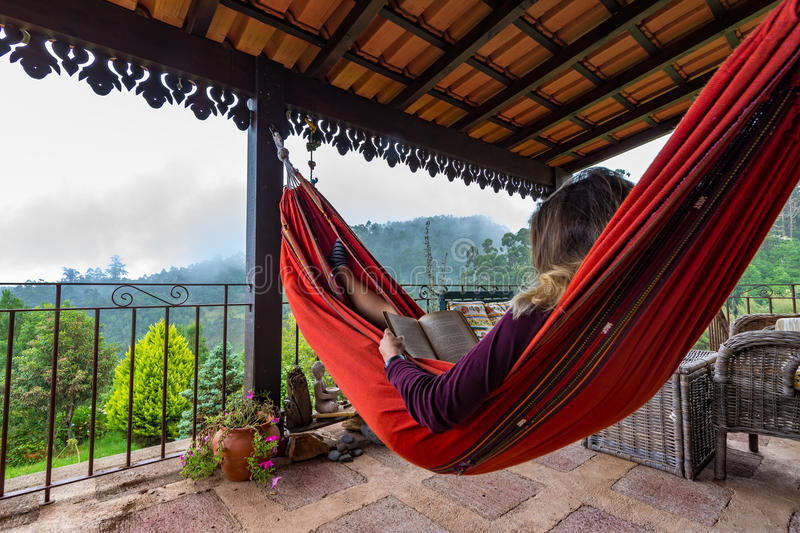 Tourist relaxing in hammock. royalty free stock photo
