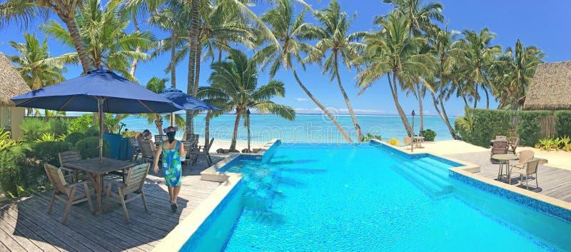 Tourist relaxing in a resort in Rarotonga Cook Islands stock photo