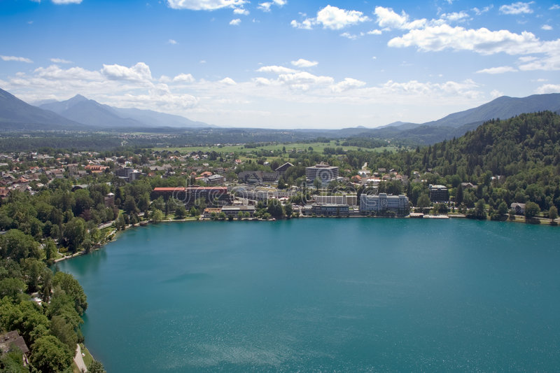 Tourist resort over a lake royalty free stock image
