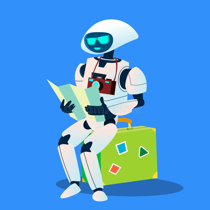 Tourist Robot With Camera And Map Vector. Isolated Illustration vector illustration