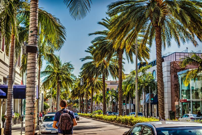 Tourist in Rodeo Drive on a sunny day. Beverly Hills, California stock image