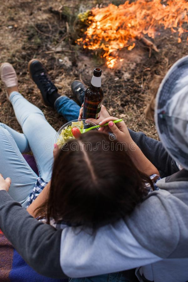 Tourist romance couple drink beer together concept. Happy joint pastime stock photo