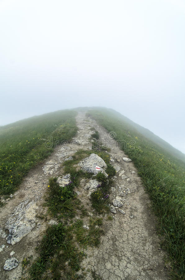 Tourist route in fog in National park Mala Fatra stock image