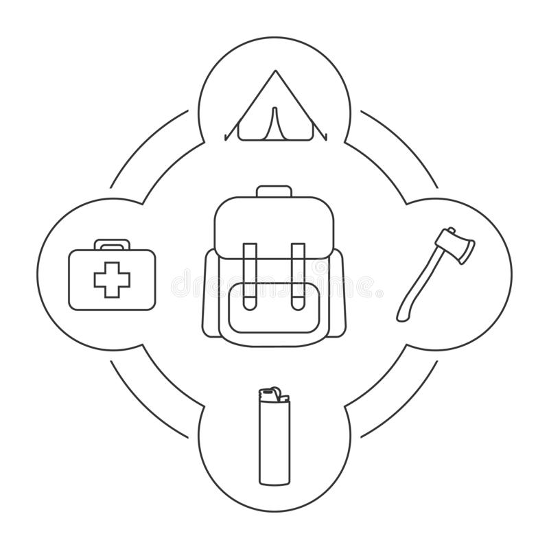 Tourist`s backpack contents linear icons set stock illustration