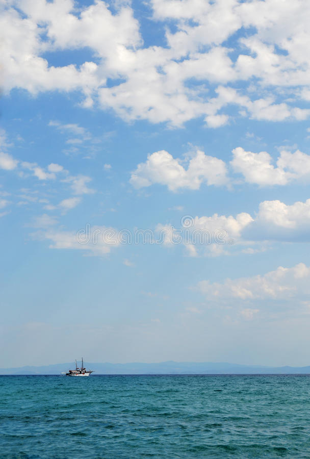Tourist Ship On The Open Sea stock photography