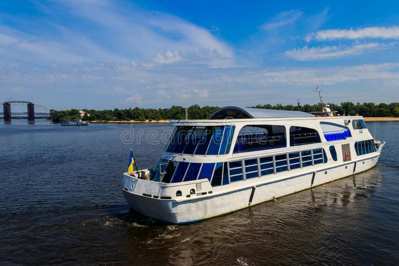 Tourist ship sailing on the Dnieper river in Kiev. Ukraine royalty free stock images