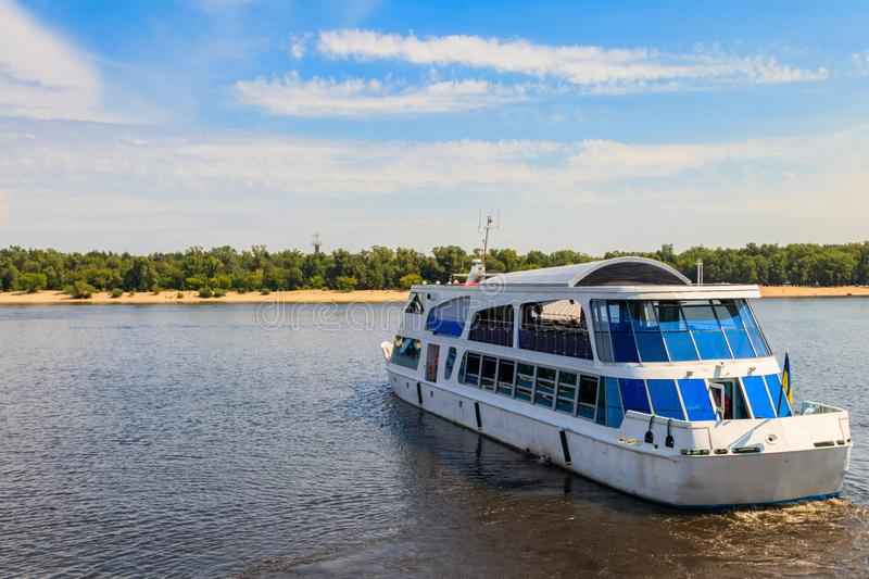 Tourist ship sailing on the Dnieper river in Kiev. Ukraine stock photography