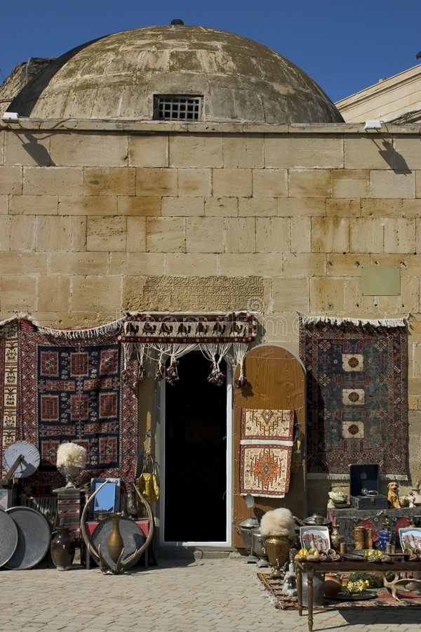Tourist shop, Baku. A touristy knick-knack/carpet shop in Baku, Azerbaijan stock images