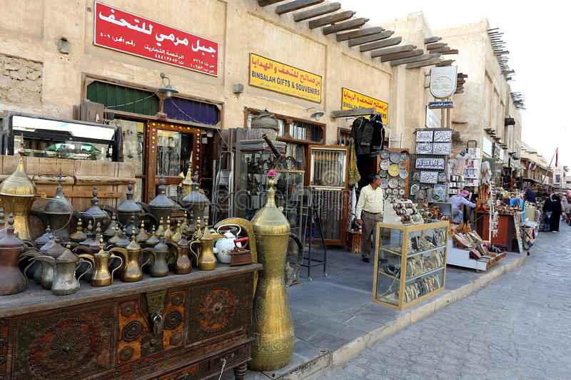 Tourist shops in Souq Waqif market stock image