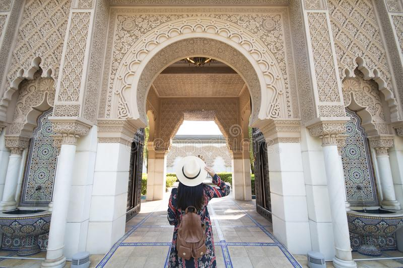 Tourist is sightseeing at Morocco Pavilion in Putrajaya district royalty free stock photos