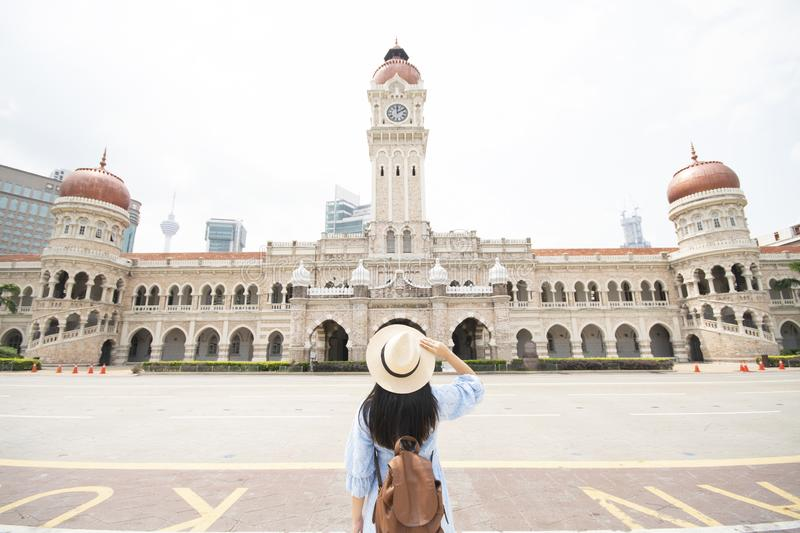Tourist is sightseeing at The Sultan Abdul Samad building is located in front of the Merdeka Square in Jalan Raja,Kuala Lumpur royalty free stock photos