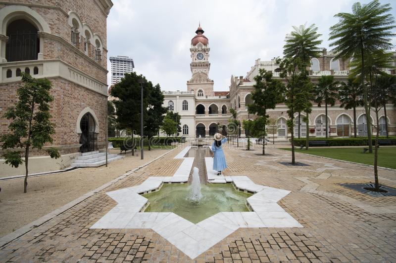 Tourist is sightseeing at The Sultan Abdul Samad building is located in front of the Merdeka Square in Jalan Raja,Kuala Lumpur stock photos
