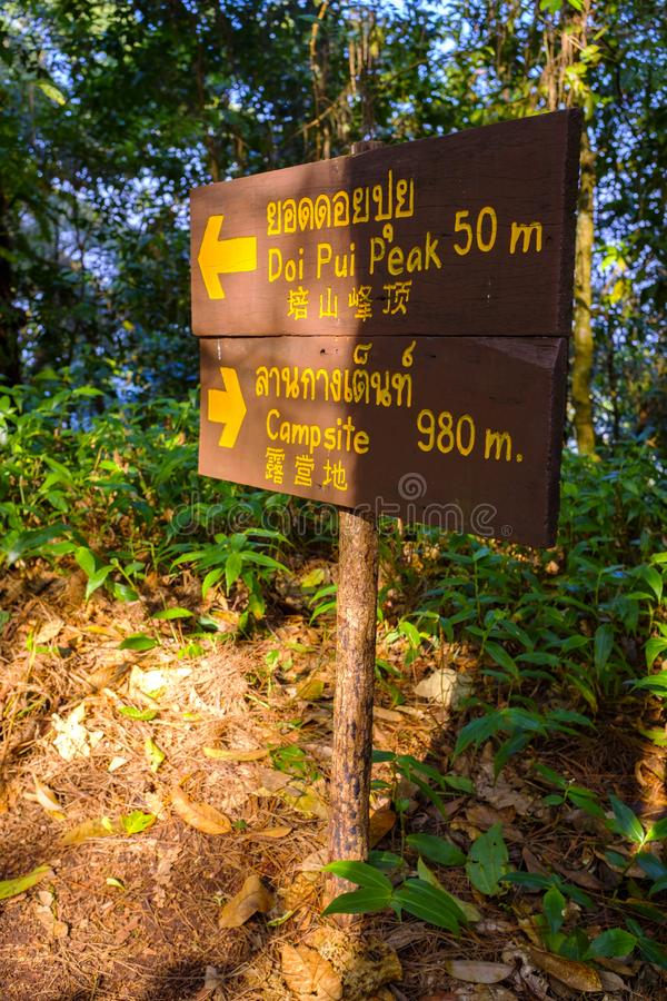 Tourist sign in a forest. A tourist sign at the Doi Pui National Park near Chiang Mai, Thailand stock images