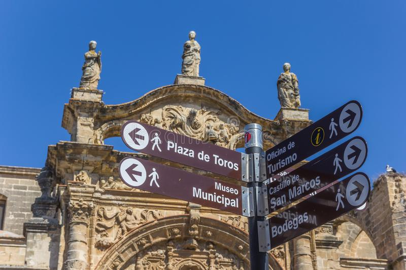 Tourist sign in front of the Priory chuch of El Puerto de Santa Maria. Spain stock photo