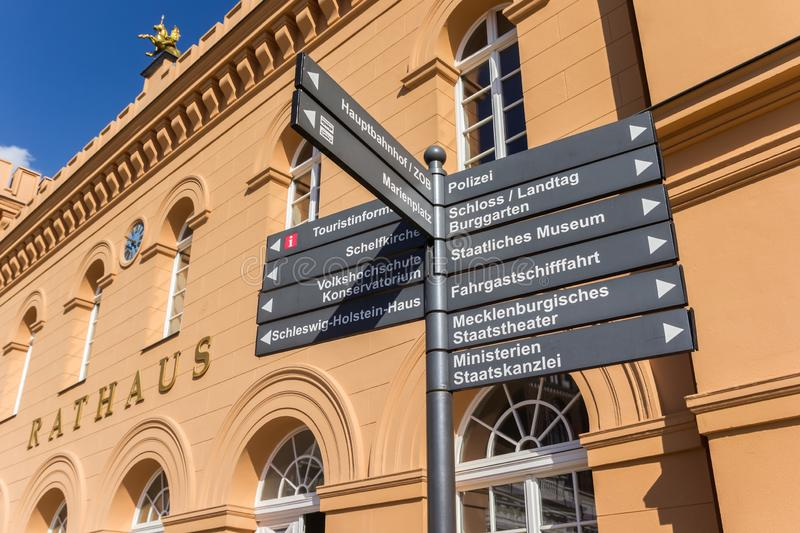 Tourist sign in front of the town hall in Schwerin. Germany royalty free stock photos