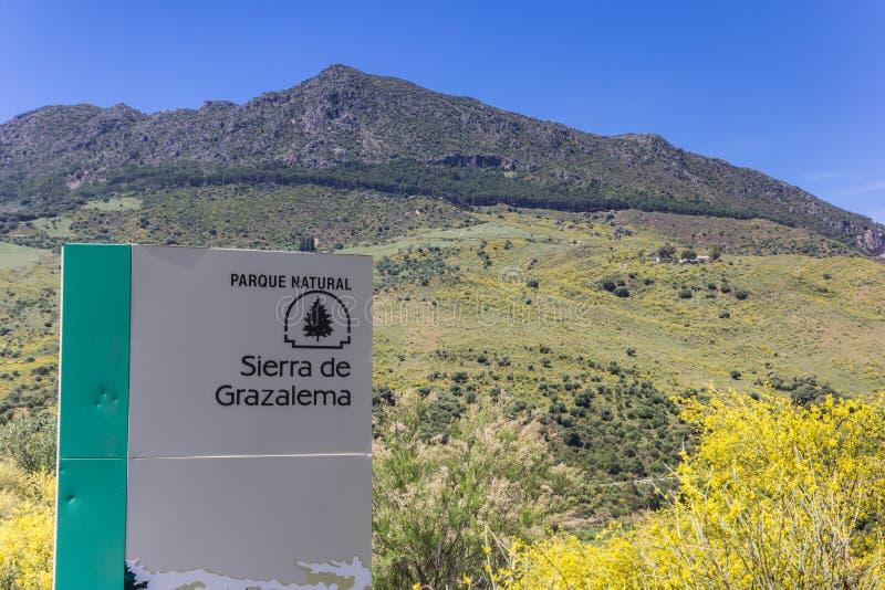 Tourist sign in the Grazalema natural park. Spain stock photos