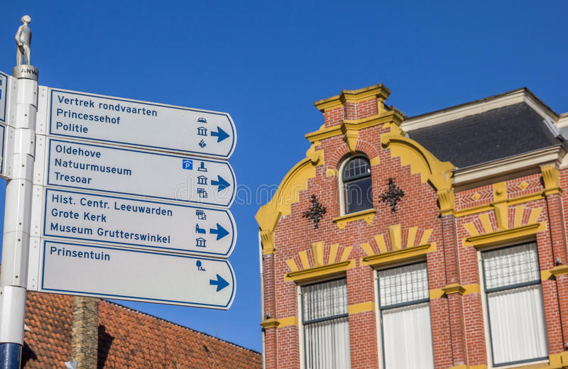 Tourist sign in the historical center of Leeuwarden. Netherlands royalty free stock photos