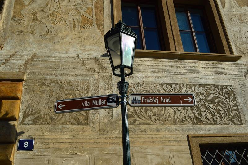 Tourist sign outside the Martinic Palace prague czech republic. Tourist sign outside the Martinic Palace in Prague One district of Prague Castle. The Martinic royalty free stock photos