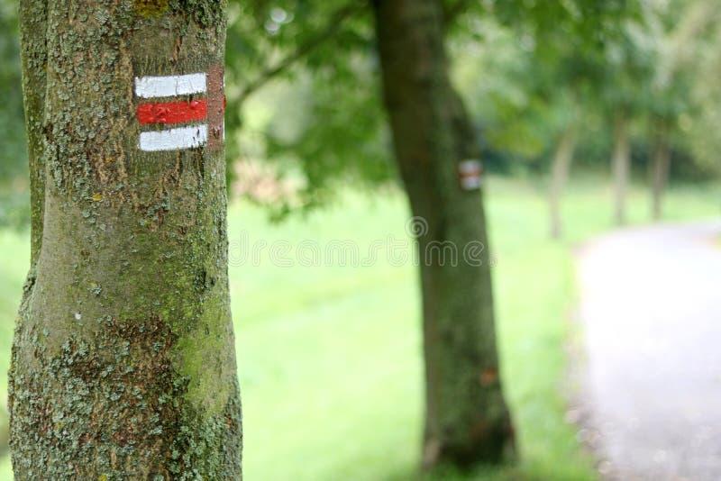 Tourist sign. Along a stone path stock image