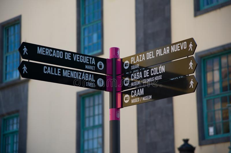 Tourist sign post. Las Palmas, Gran Canaria, Spain - 31 December, 2017. Tourist sign post in capital city in Gran Canary stock photography