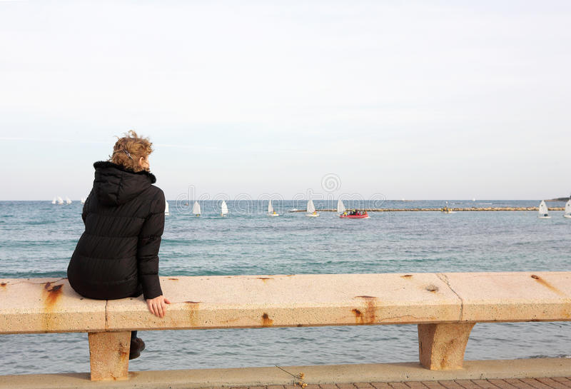 Tourist sitting on the bench