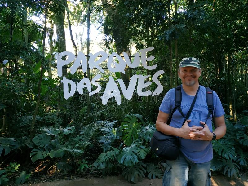 Tourist standing at Parque Das Aves royalty free stock photos