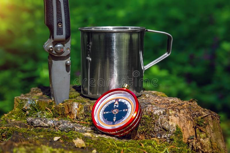 Tourist steel cup and compass in the summer forest.  stock photography