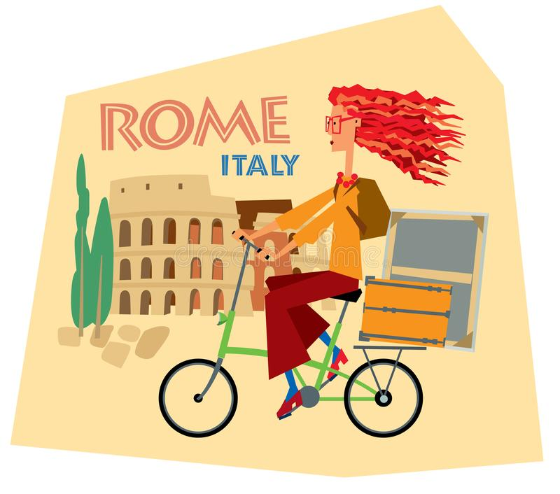 Tourist sticker Rome Italy. Girl artist rides a bicycle against the backdrop of the Collisee. Vector graphics stock illustration