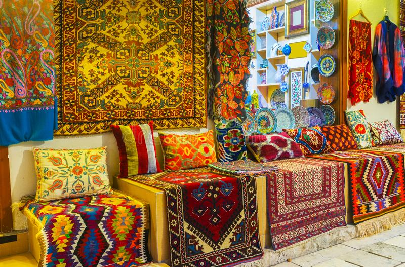Tourist stores in old bazaar, Antalya, Turkey stock photography