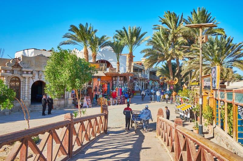 The tourist street of Dahab, Sinai, Egypt stock photo